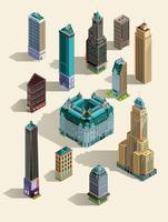 Isometrische gebouwen. Geïsoleerde oriëntatiepunten voor pictogrammen instellen. 3d kaart, huis, stadswolkenkrabber Hoogste mening. Geïsoleerd op wit.