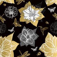 Naadloze patroonbloemen, vlinders, kolibries, zwarte achtergrond. vector