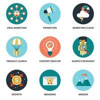 Bedrijfspictogrammen die voor zaken worden geplaatst vector