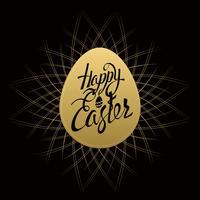 Gelukkige Pasen-tekenbrieven op gouden ei, symbool, embleem op een zwarte achtergrond met uitstekende sunbusrt. vector