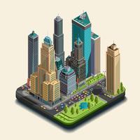 Isometrische 3d stad, een deel van het wolkenkrabberdistrict van pictogrammen die uit gebouwen bestaan. vector