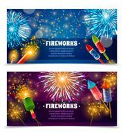 Firework Crackers 2 Feestelijke Banners Set vector
