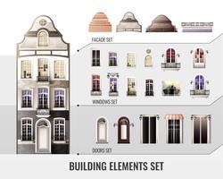 Europese bouwelementen instellen vector