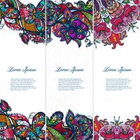 Vintage kleur kant floral set van banners voor uw ontwerpen. vector
