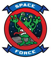 Grappige Space Force Alien Cartoon vectorillustratie