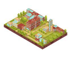 Moderne universitaire gebouwen isometrische lay-out