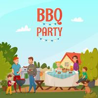 Barbecue partij poster vector