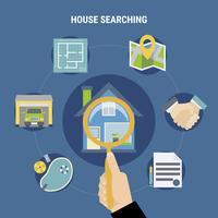 Huis zoeken concept vector