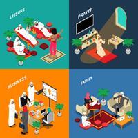 Arabische mensen levensstijl isometrische ontwerpconcept