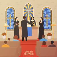 Kerkdienst religieuze ceremonie platte banner vector