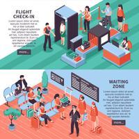 Luchthaven vertrek isometrische Banners ontwerp