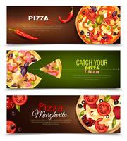 Pizza horizontale banners instellen vector