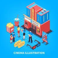 Cinematografie isometrisch ontwerpconcept vector
