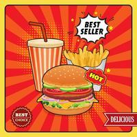 Poster van de snel voedsel de grappige stijl vector