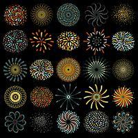 Feestelijke vuurwerk ronde iconen collectie vector