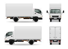 Realistisch reclamemodel voor vrachtauto's vector