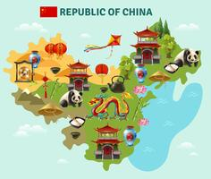 China Reizen Sightseeing kaart Poster vector