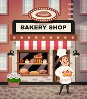 Bakkerij Winkel Cartoon Illustratie vector