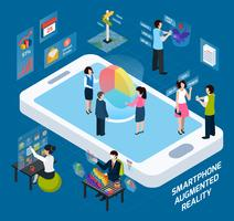 Smartphone Augmented Reality isometrische samenstelling vector