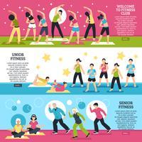 Fitness Klassen Horizontale Banners Set