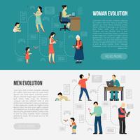 geslacht evolutie banners instellen vector