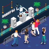 Robot DJ en dansende mensen op feestje