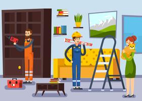 Home Renovatie Workmen Flat Poster vector
