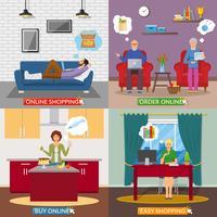 Online winkelen 2x2 platte ontwerpconcept vector