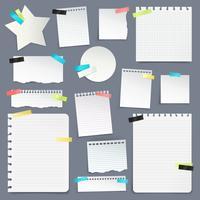 Set van papieren kladjes en schone lakens vector