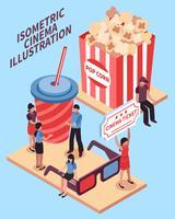 Cinema isometrische ontwerpconcept vector