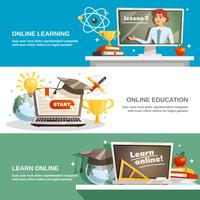 Online onderwijs horizontale banners vector