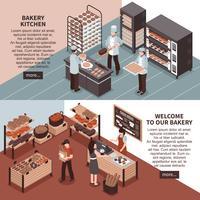 Bakkerij Keuken en Bakkerij winkel isometrische Banners vector