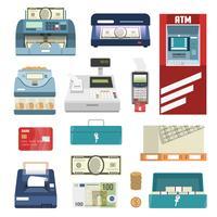 Bank-attributen Icon Set vector