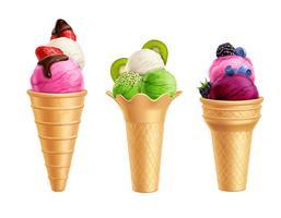 ijs met fruit realistische set