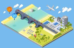 Brug en strand illustratie vector