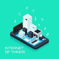 Internet van de samenstelling van het dingenontwerp met Smartphone vector