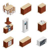 Keukenmeubilair Isometrische Icons Set vector