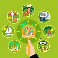 Zomer toerisme cirkel concept vector