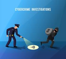 Hackers Cybercrime Prevention Investigation Flat Poster vector