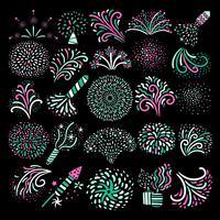 Moderne feestelijke vuurwerk pictogrammen collectie