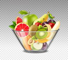 Realistische vruchten in glazen kom vector