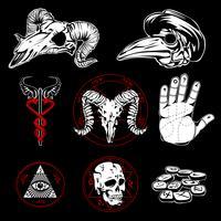 Hand getekende esoterische symbolen en occulte attributen vector