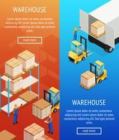 Warehouse verticale isometrische Banners vector