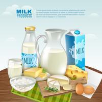 Melkproducten achtergrond vector