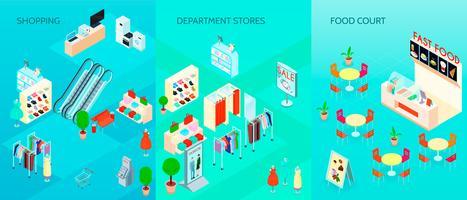 Winkelcentrum Isometrische Banners Set