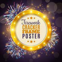 Vuurwerk Cracker Frame kleurrijke achtergrond Poster