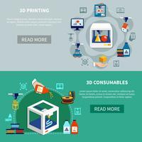 Prototyping van horizontale banners met 3d-printproces vector