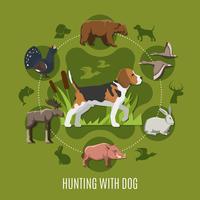 Jacht met hond Concept vector
