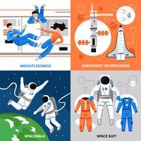 Astronauten 2x2 ontwerpconcept vector