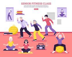 Senior fitness klasse vlakke poster vector